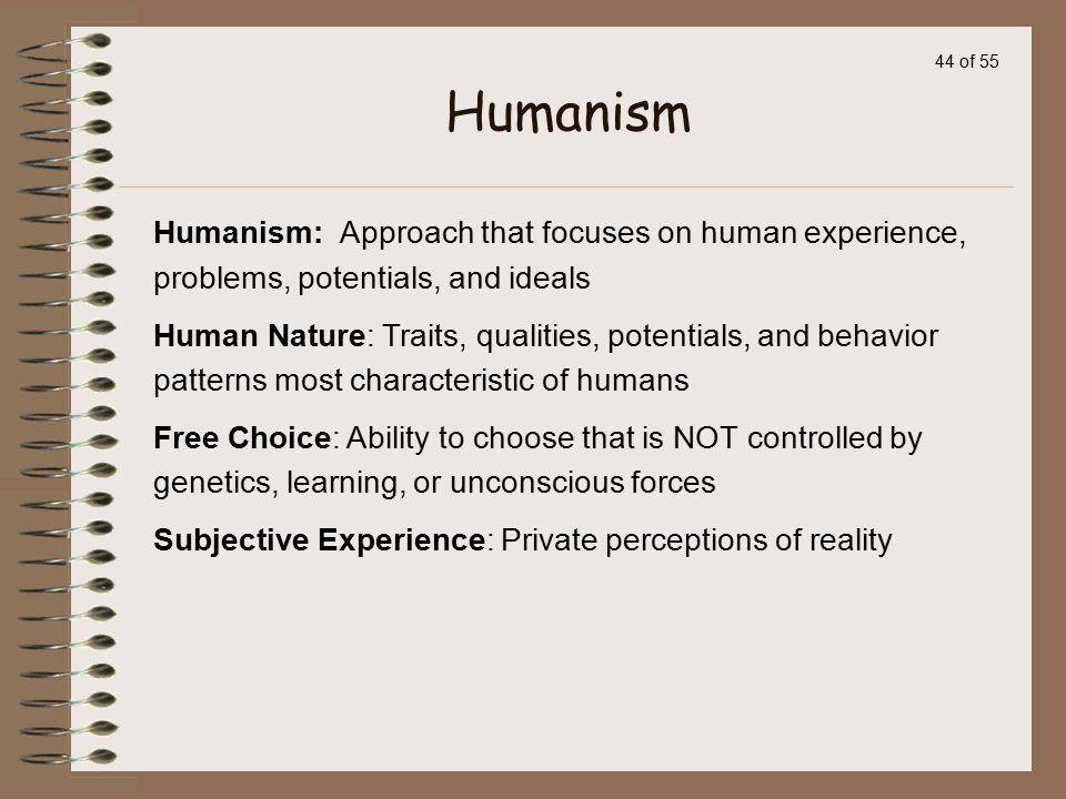 Humanism Humanism: Approach that focuses on human experience, problems, potentials, and ideals.