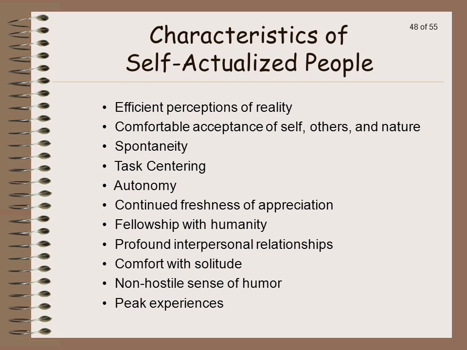 Characteristics of Self-Actualized People
