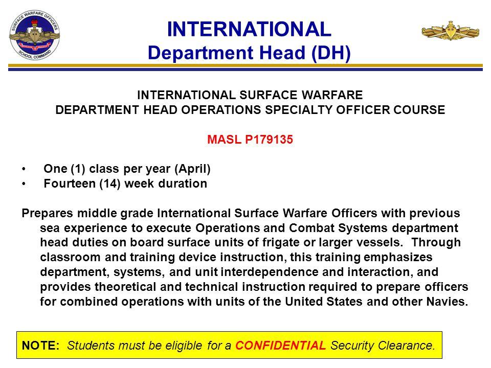 INTERNATIONAL Department Head (DH)