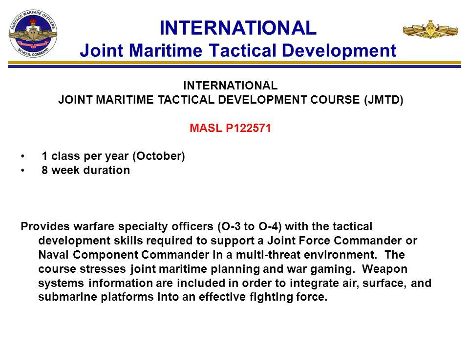 INTERNATIONAL Joint Maritime Tactical Development