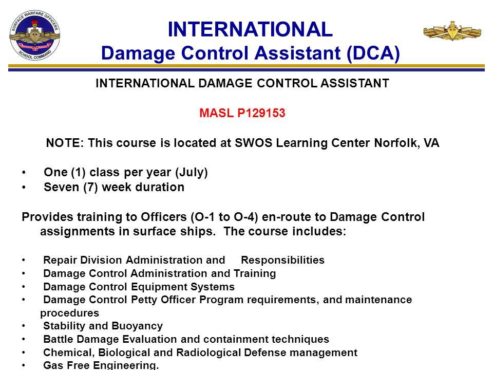 INTERNATIONAL Damage Control Assistant (DCA)