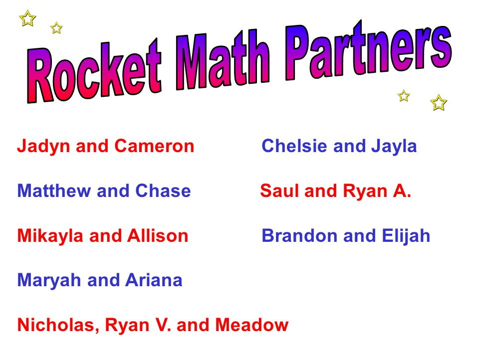 Rocket Math Partners Jadyn and Cameron Chelsie and Jayla