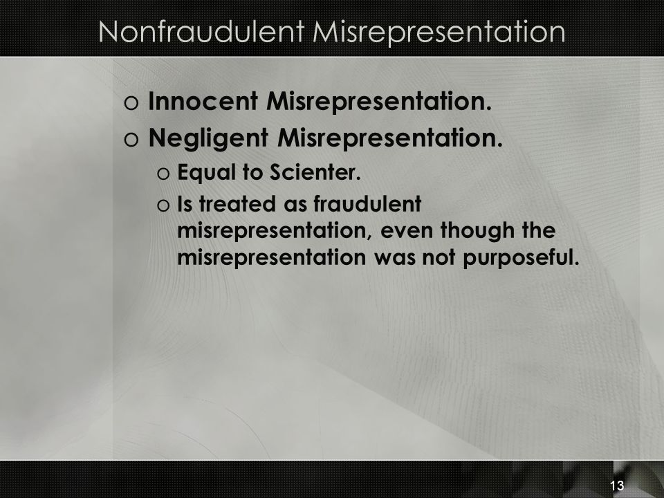Nonfraudulent Misrepresentation