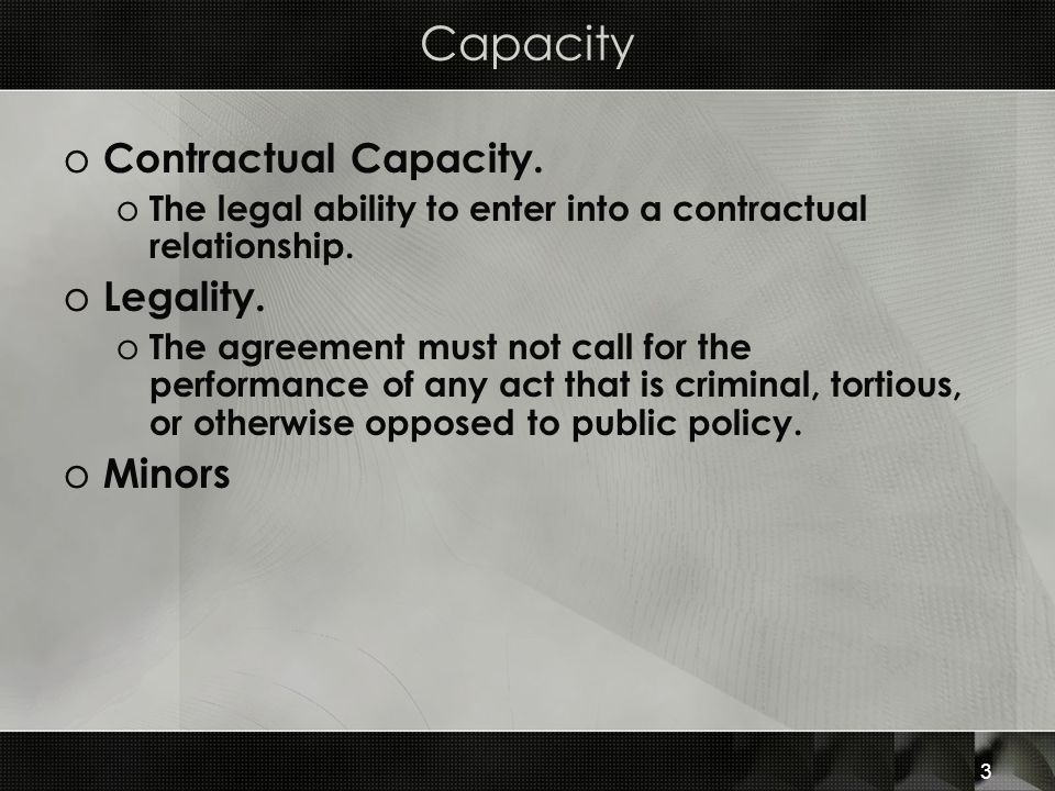 Capacity Contractual Capacity. Legality. Minors