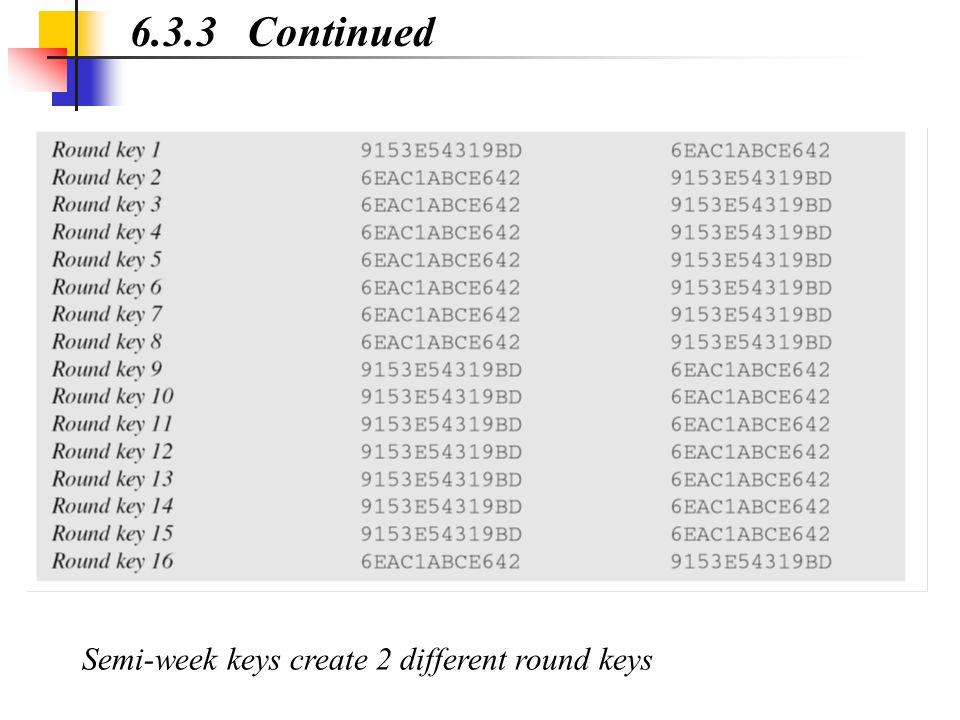 6.3.3 Continued Semi-week keys create 2 different round keys