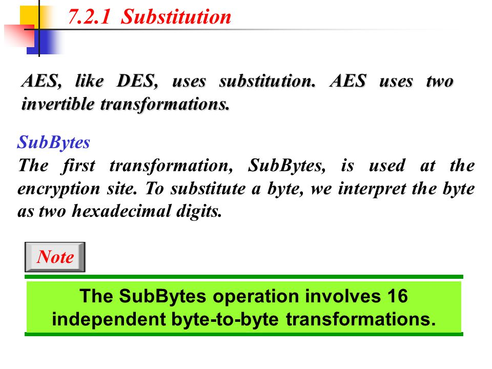 7.2.1 Substitution AES, like DES, uses substitution. AES uses two invertible transformations. SubBytes.
