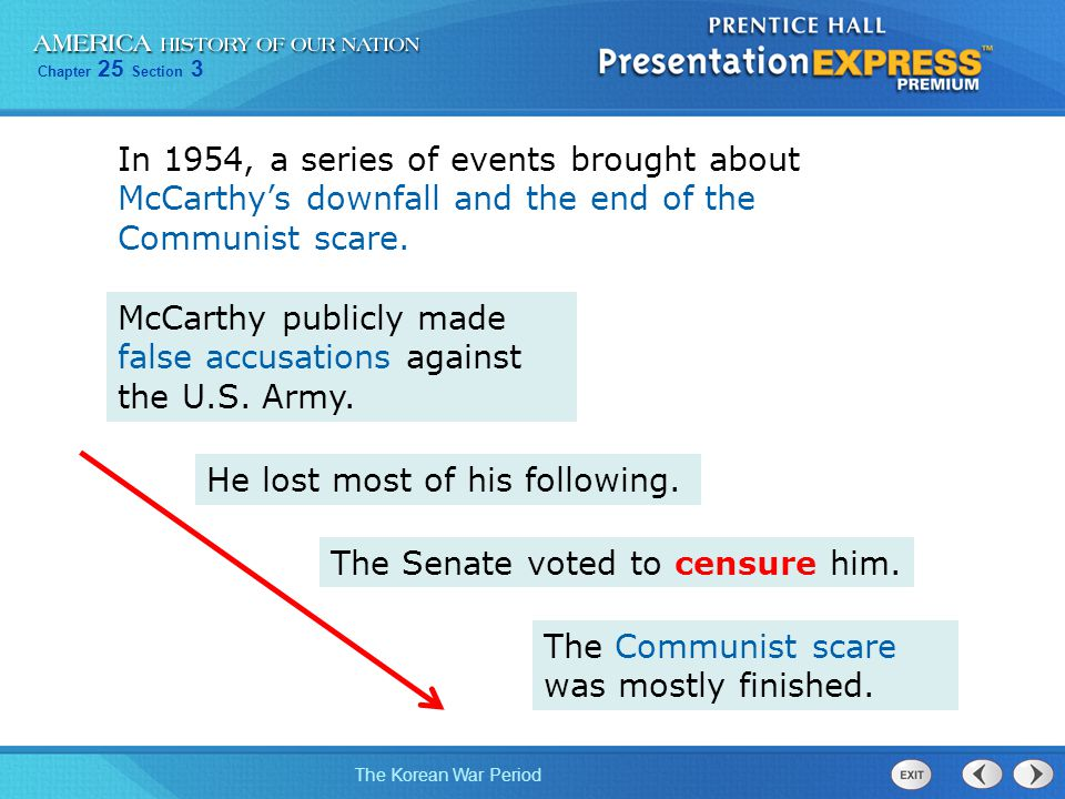 In 1954, a series of events brought about McCarthy's downfall and the end of the Communist scare.