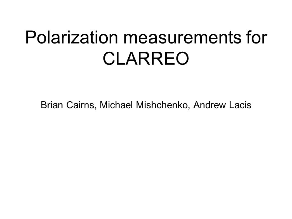 Polarization measurements for CLARREO