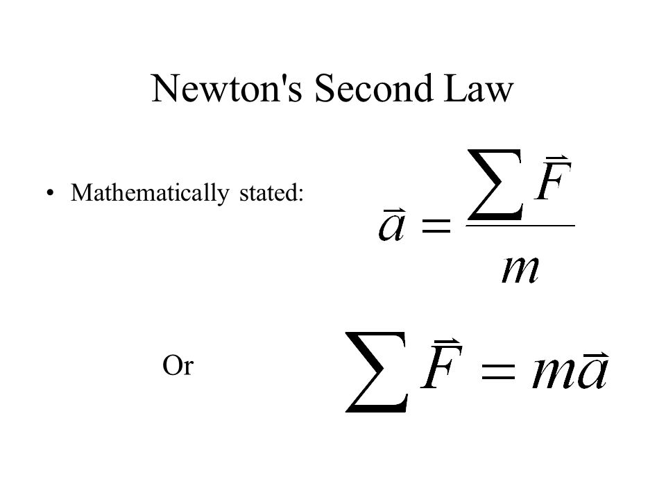 Newton s Second Law Mathematically stated: Or