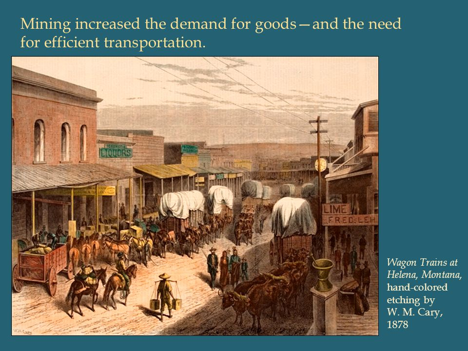 Mining increased the demand for goods—and the need for efficient transportation.