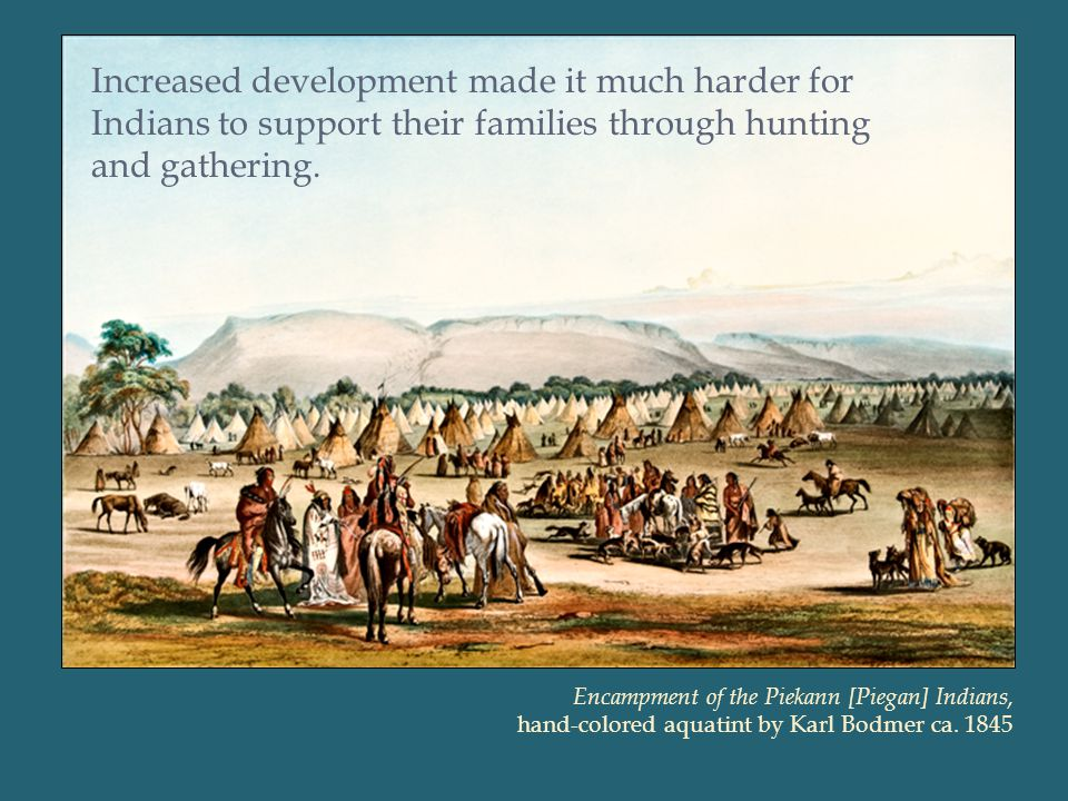 Increased development made it much harder for Indians to support their families through hunting and gathering.