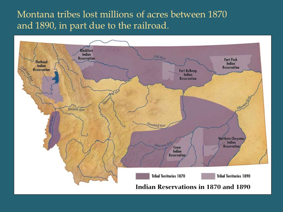 Montana tribes lost millions of acres between 1870 and 1890, in part due to the railroad.