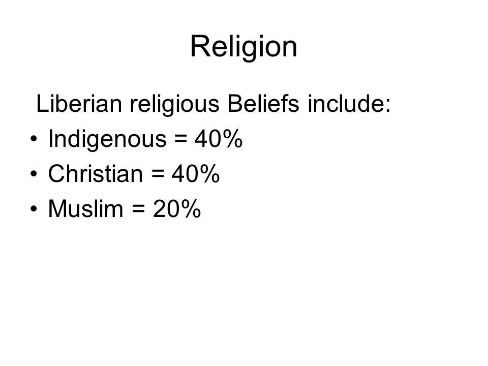 Religion Liberian religious Beliefs include: Indigenous = 40%
