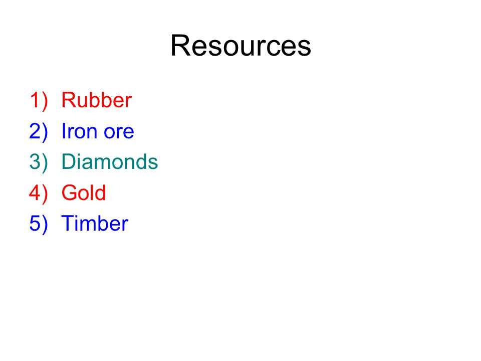 Resources Rubber Iron ore Diamonds Gold Timber