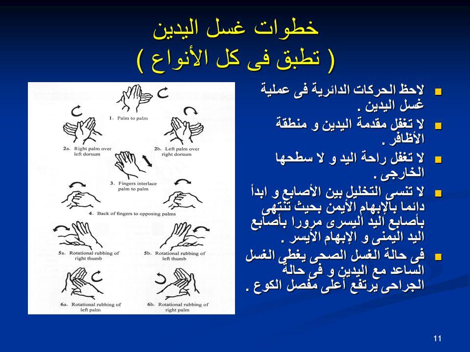 خطوات غسل اليدين ( تطبق فى كل الأنواع )