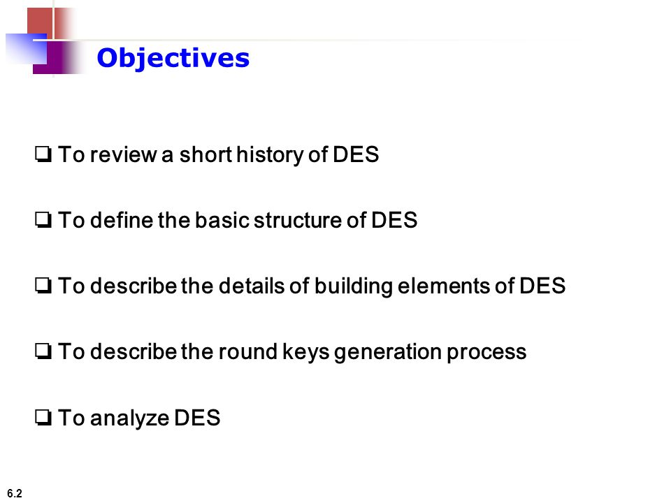 Objectives ❏ To review a short history of DES