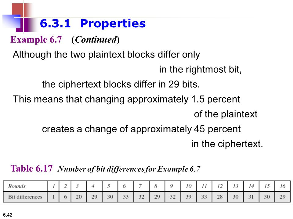 6.3.1 Properties Example 6.7 (Continued)