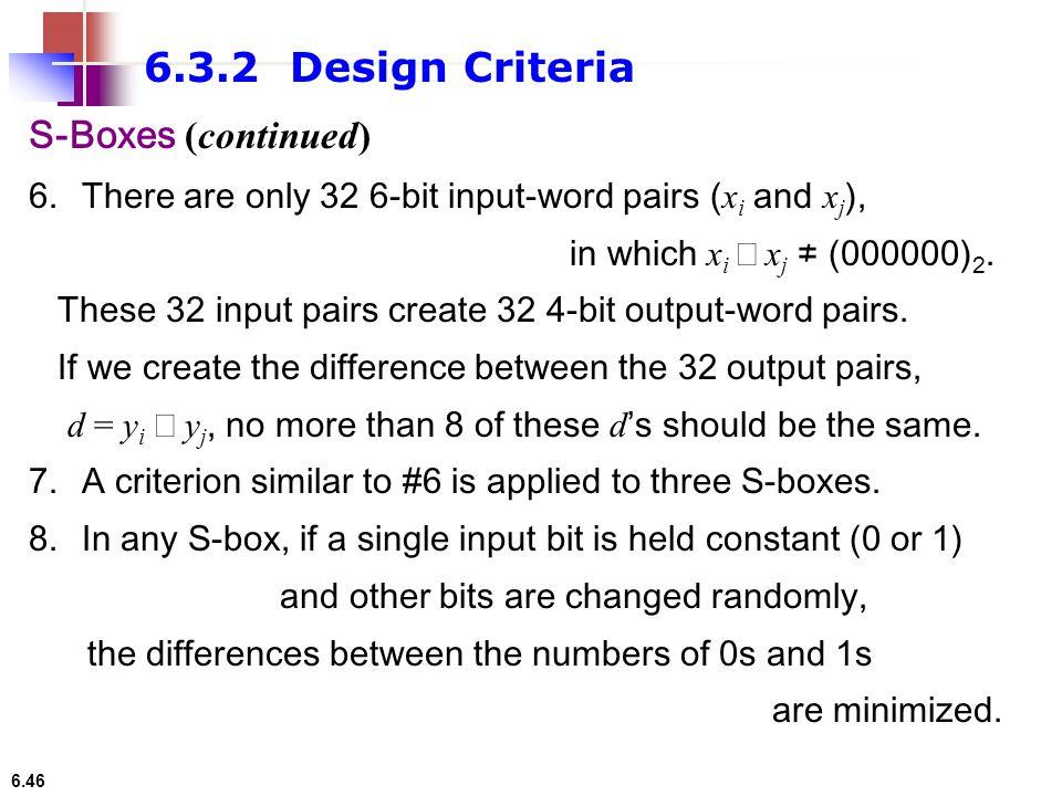 6.3.2 Design Criteria S-Boxes (continued)