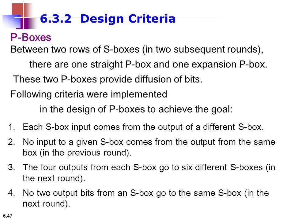 6.3.2 Design Criteria P-Boxes