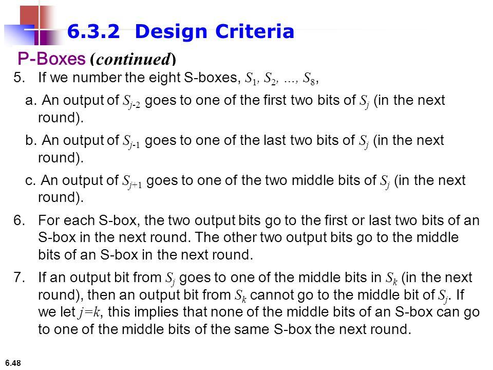 6.3.2 Design Criteria P-Boxes (continued)