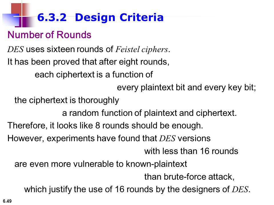6.3.2 Design Criteria Number of Rounds