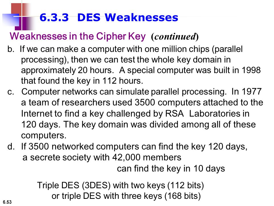 6.3.3 DES Weaknesses Weaknesses in the Cipher Key (continued)