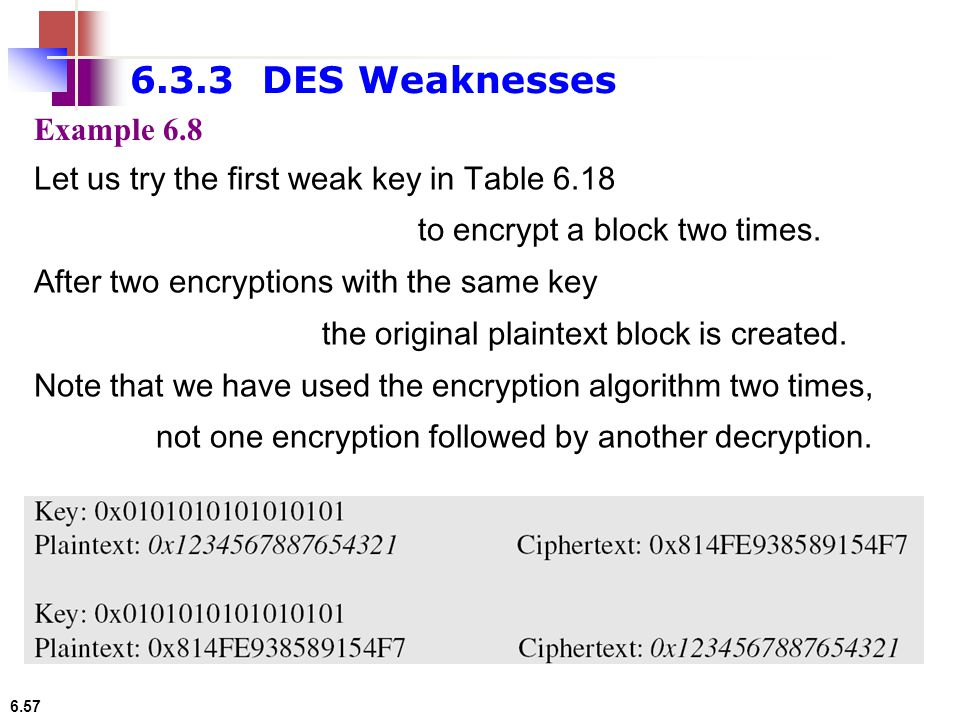 6.3.3 DES Weaknesses Example 6.8