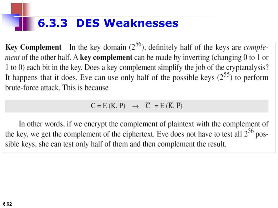 6.3.3 DES Weaknesses