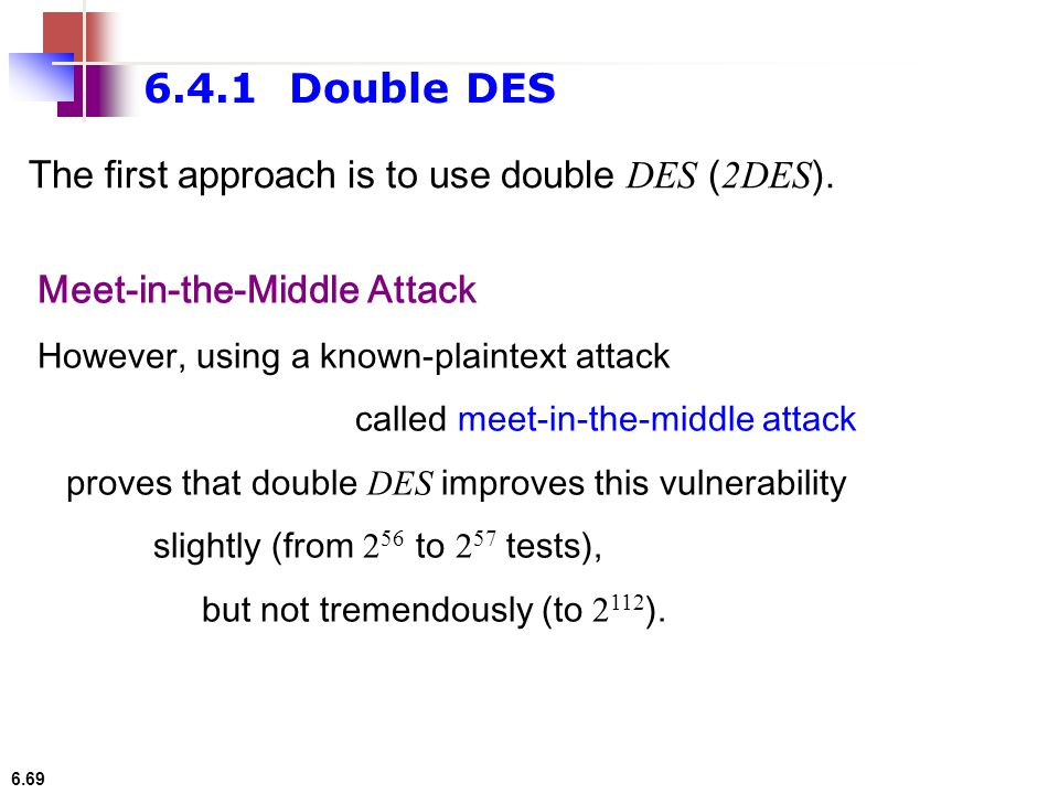 6.4.1 Double DES The first approach is to use double DES (2DES).