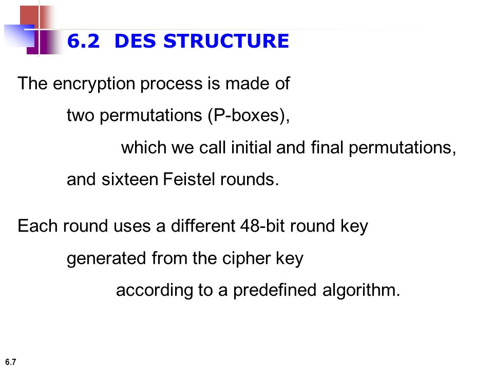 6.2 DES STRUCTURE The encryption process is made of