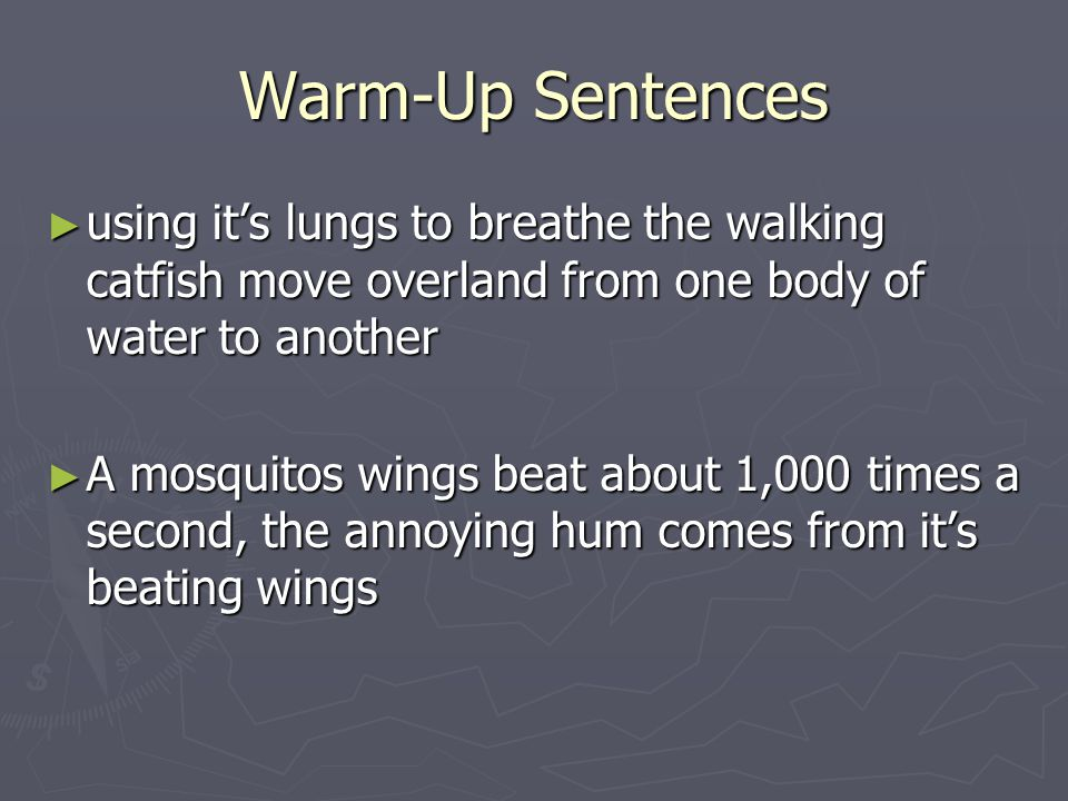 Warm-Up Sentences using it's lungs to breathe the walking catfish move overland from one body of water to another.