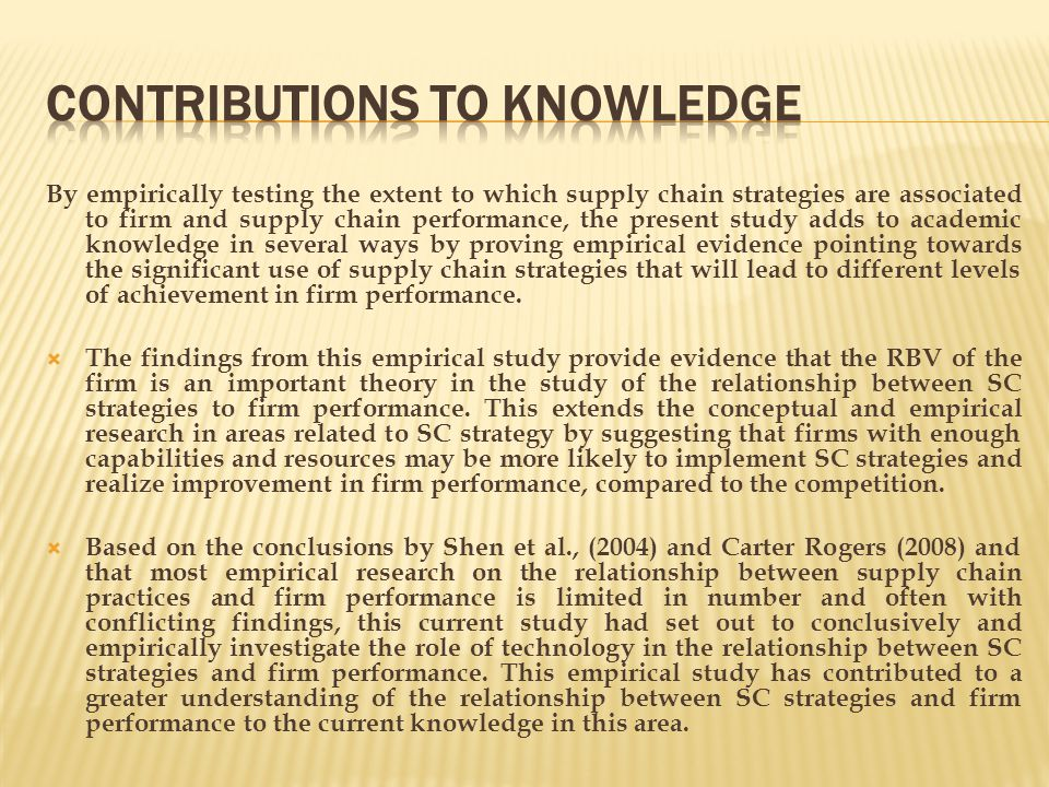 Contributions to Knowledge