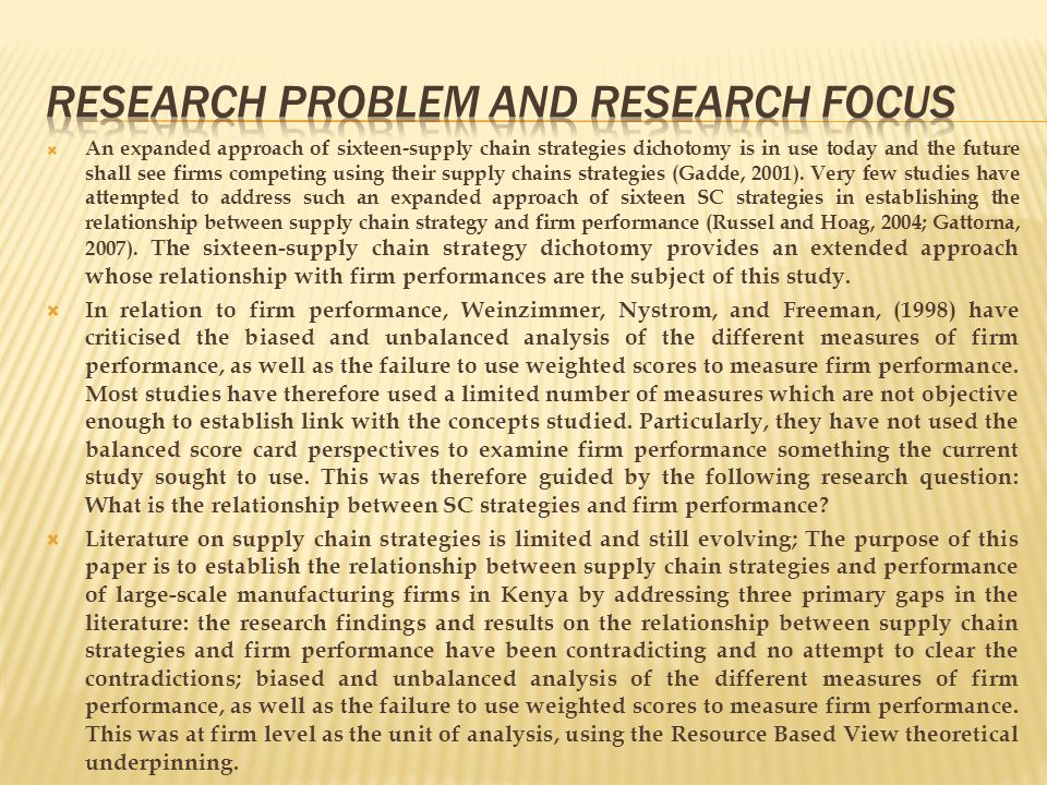 Research Problem and Research Focus