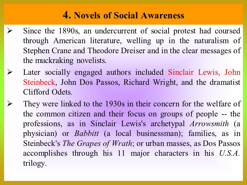 4. Novels of Social Awareness