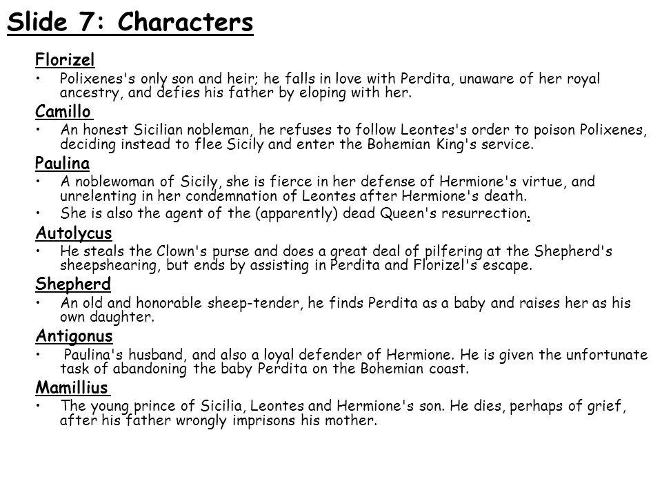 Slide 7: Characters Florizel Camillo Paulina Autolycus Shepherd