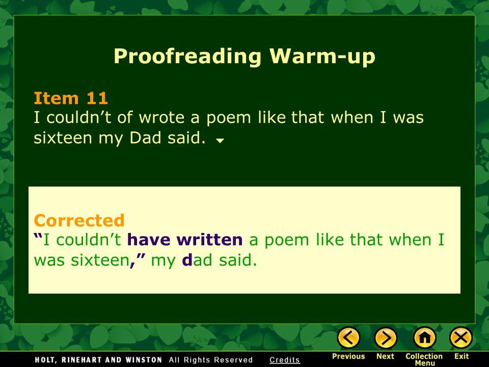 Proofreading Warm-up Item 11 Corrected