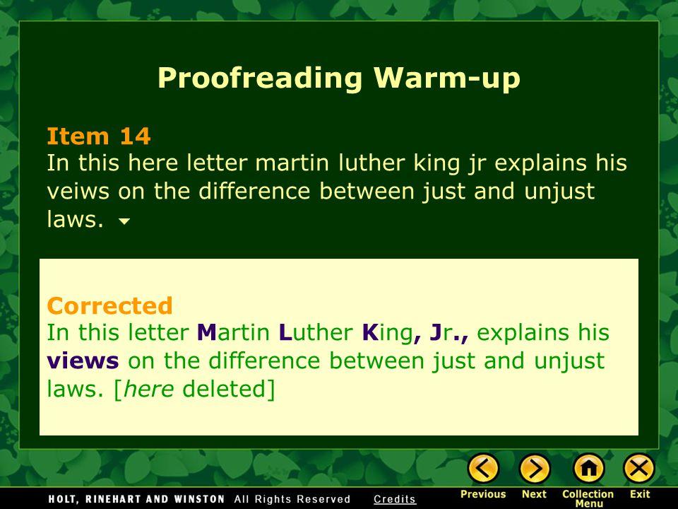 Proofreading Warm-up Item 14 Corrected