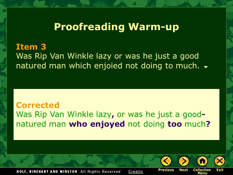 Proofreading Warm-up Item 3 Corrected