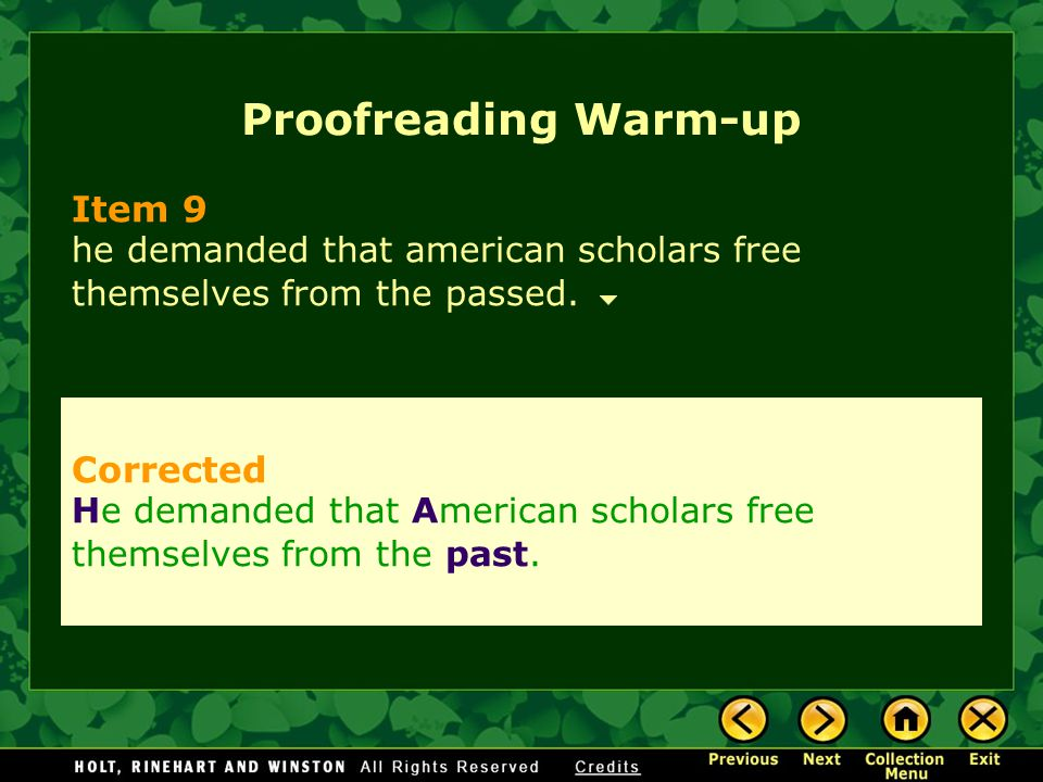 Proofreading Warm-up Item 9 Corrected