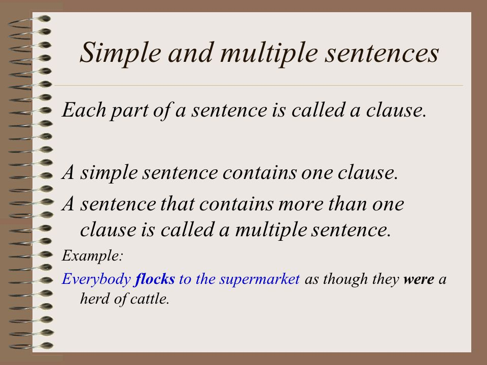 Simple and multiple sentences