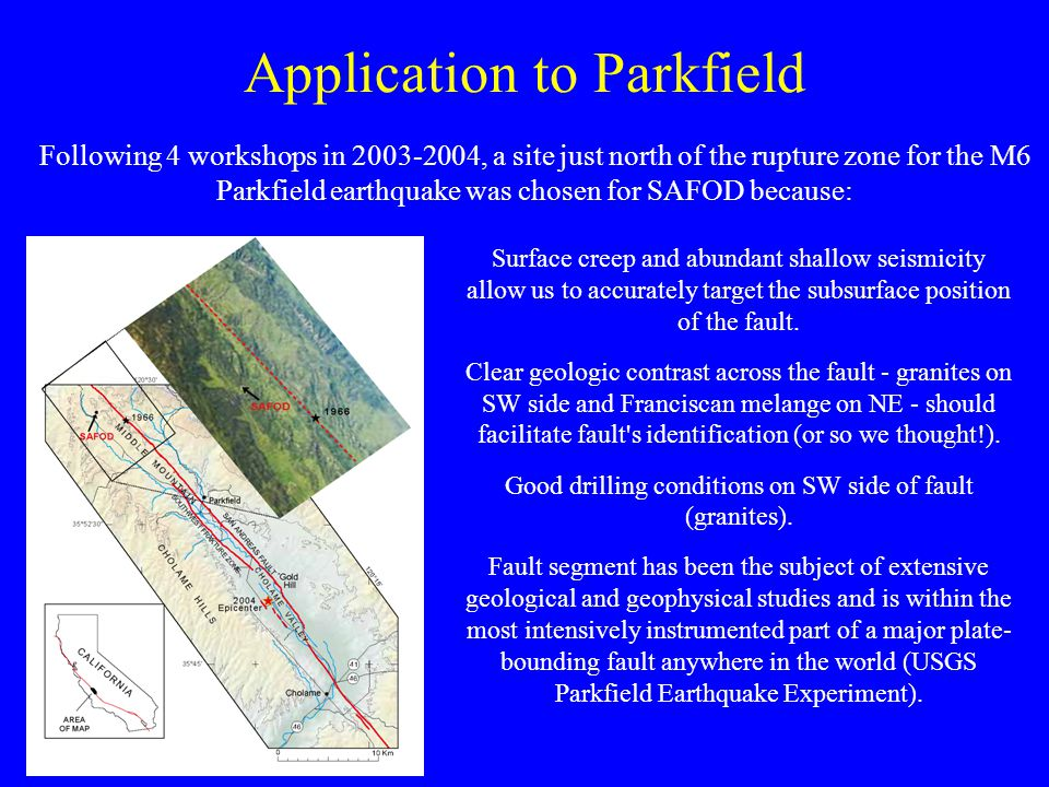 Application to Parkfield