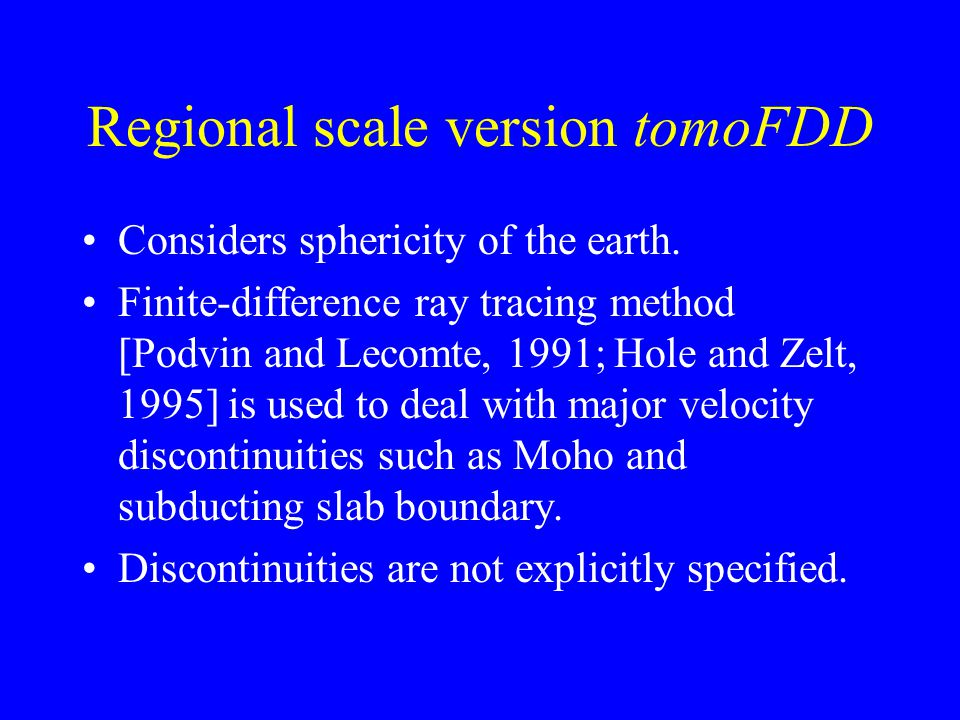 Regional scale version tomoFDD