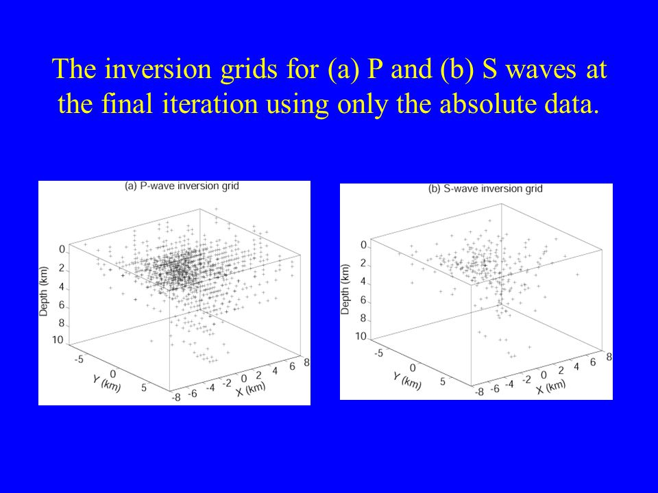 The inversion grids for (a) P and (b) S waves at the final iteration using only the absolute data.