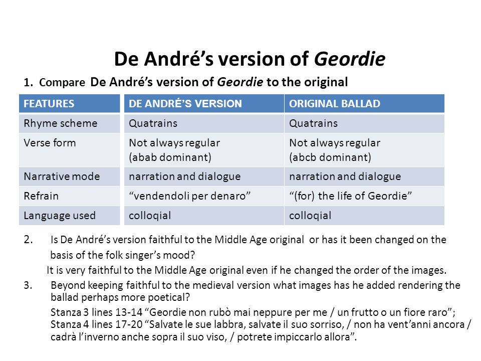 De André's version of Geordie