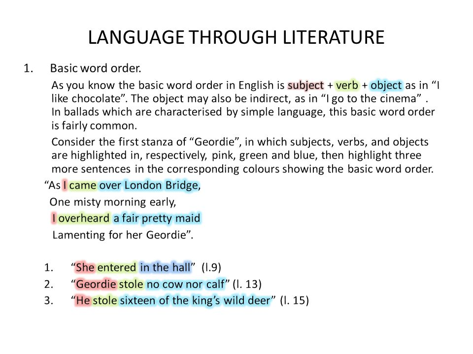 LANGUAGE THROUGH LITERATURE
