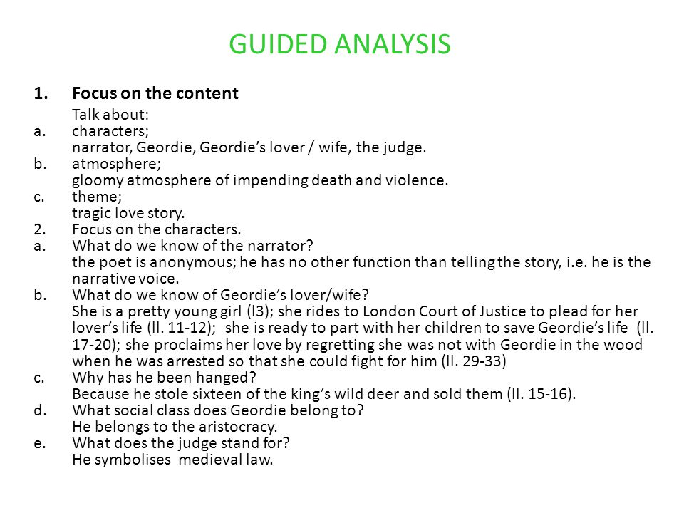 GUIDED ANALYSIS Focus on the content characters;