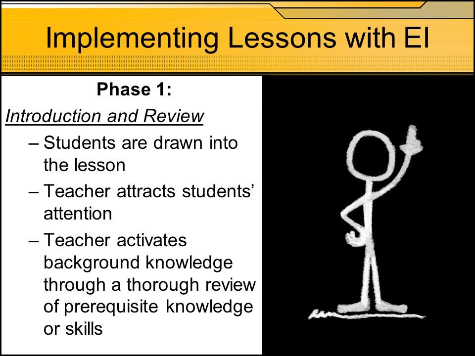 Implementing Lessons with EI