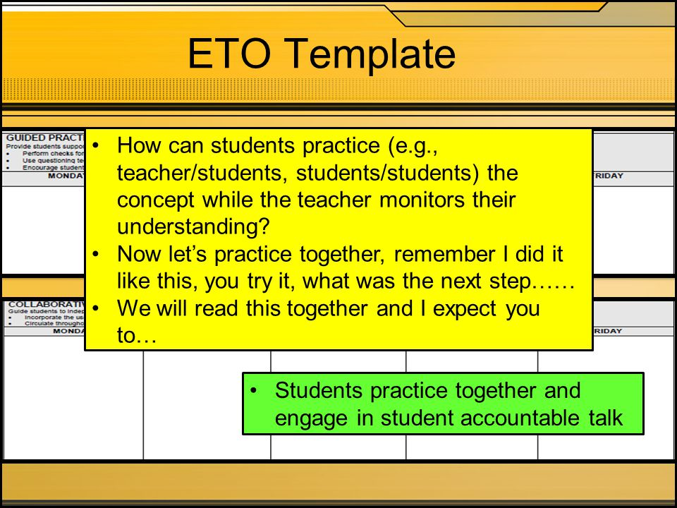 ETO Template How can students practice (e.g., teacher/students, students/students) the concept while the teacher monitors their understanding