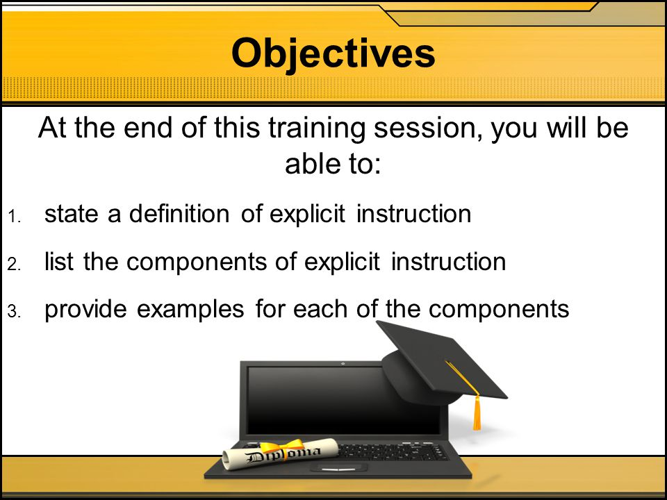 At the end of this training session, you will be able to: