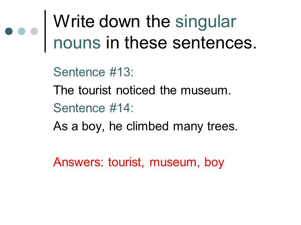 Write down the singular nouns in these sentences.